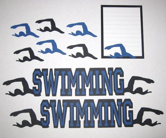 SWIMMING Swim Team Scrapbook Border Set, Page Layout / Die Cuts - Premade 12X12 Pins Strike Split
