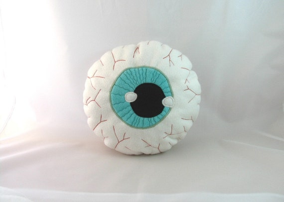 Scary Eyeball Cushion. Funny though creepy stuff. Eco friendly and hypoallergenic plush toy. Desidner toy, OOAK