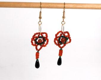 Seed Bead Christmas Flower Earrings