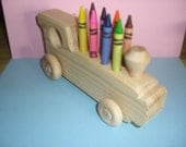 Toy, children, wood toy, train, crayon holder, locomotive with crayons, wheeled train