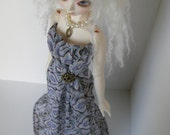 OOAK Strapless chiffon gown for SD13 BJD in grey, lavender and gold floral geometric print