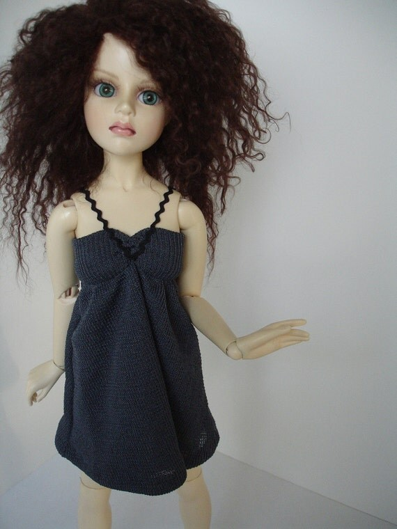 OOAK Grey knit empire dress with black straps for MSD ball-jointed &16 inch fashion dolls