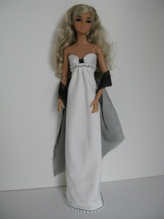 OOAK Black and white knit empire waist strapless gown  for 11 inch fashion dolls