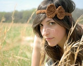The Mini Bow Headband in Brown Cotton