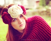 Valentine Trio of Roses Headband and Earwarmer in Cranberry Red and Cream