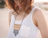 Navajo Wooden Geometric Necklace Chain Fringe. Red and Black. Triangle. Ethnic. Pattern.