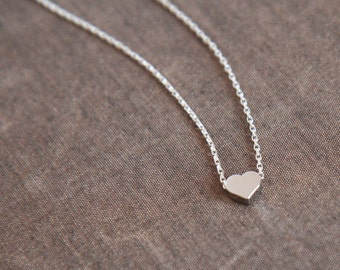 Heart Necklace,Silver Necklace,Tiny Heart,Layer Necklace,Simple Necklace,Heart Necklace,Minimal Necklace,Bridesmaid Gift