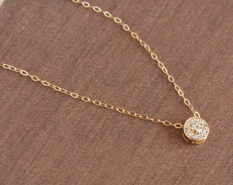Floating Diamond Necklace,Delicate Necklace,Dainty Necklace,Layering Necklace,Everyday Necklace,Minimal Necklace,Bridesmaid Gift