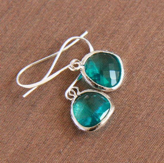 Blue Green Silver Earrings - Silver Framed Blue Zircon Glass Earrings.Christmas in July Sale. Use Discount Code LILA20 to save 20 percent.