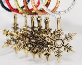 Golden Pewter Snowflake Wine Glass Stem Charms