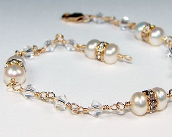 Golden Princess Bracelet - 12K Gold-filled with Clear Swarovski Crystals, Rhinestones, White Freshwater Pearls