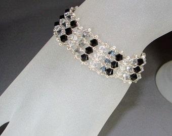 Black Glamour Bracelet - Sterling Silver Chain with Swarovski Crystals