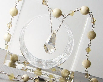Shimmering Sand Necklace - Sterling Silver with Swarovski Crystals and Beige Riverstone Gemstones