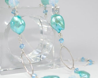 Sea Water Neklace - Sterling Silver with Aqua Freshwater Pearls and Glowing Blue Sea Opal Glass