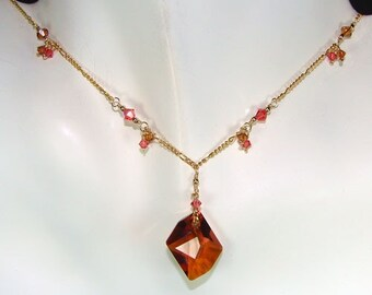Wild Copper Crystal Necklace - 14K Gold-filled Chain, Pink, Orange, Swarovski Crystals, Geometric Drop