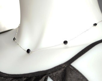 Floating Black Garnet Necklace - Sterling Silver Chain, Faceted Gemstones - Day or Evening Accessory
