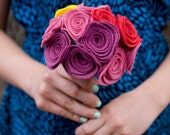 The Candace Bouquet for Bridesmaids - Custom - Felt - Wildflower - Funky -