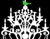 bird chandelier vinyl graphic art wall decal