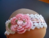 Crochet Victorian Rose Headband Choose Your Size Infant to Adult and Colors
