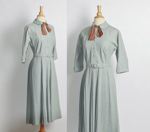 1940s / 1950s Blue Gray Shirtwaist Dress with Copper Ascot