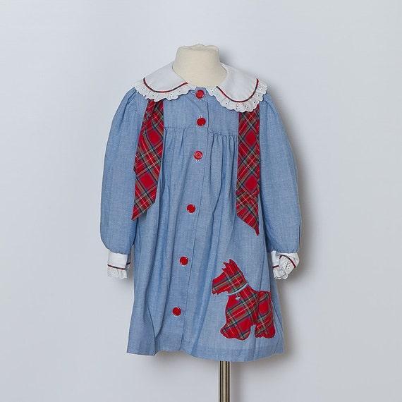 vintage toddler dress / blue with red plaid / scottie dog