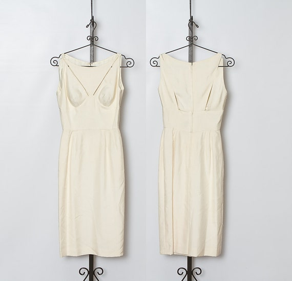 vintage 1950s Ivory Cutout Cocktail Dress