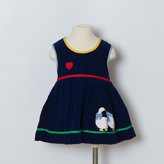1980s Toddler Corduroy Duck Dress / sale