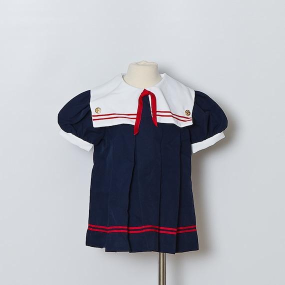vintage Sailor Toddler Dress in Navy Blue