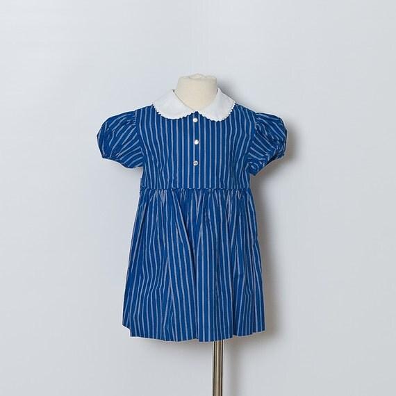 Vintage Blue Striped Toddler Dress