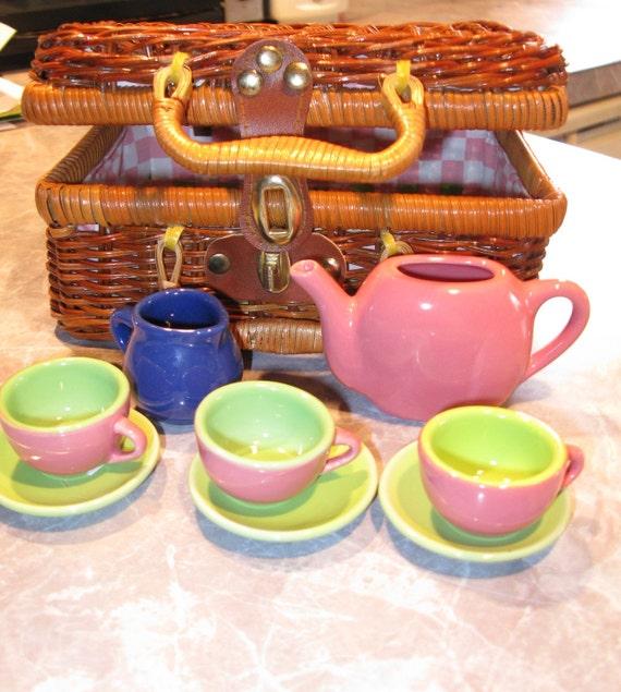 Child Toy Tea Set Wicker Basket