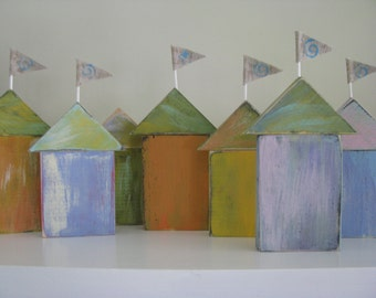 5 Coastal Beach Cottages   Nautical  set of 5 Cottages with Flags