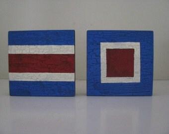 2 Small Nautical Signal Flag  Signs   Initials  Monogram