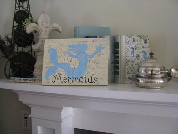 Mermaids Blue Coastal Sign-------Room Decor---Beach Theme