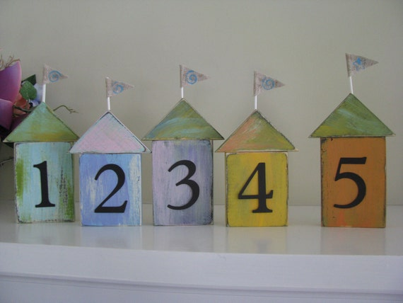 Beach Cottages Any Color Table Numbers  12 Nautical Tropical