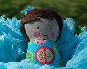 Doll - Soft Doll - Plush Baby Toy - Dark Brown Hair