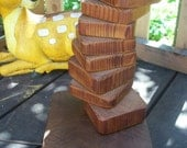 Vintage stacked wood block lamp