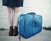 Vintage Blue Suitcase and Garment Bag