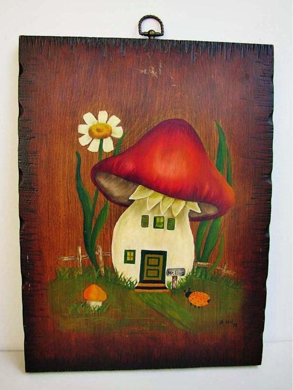 Large Vintage Mushroom Wall Hanging