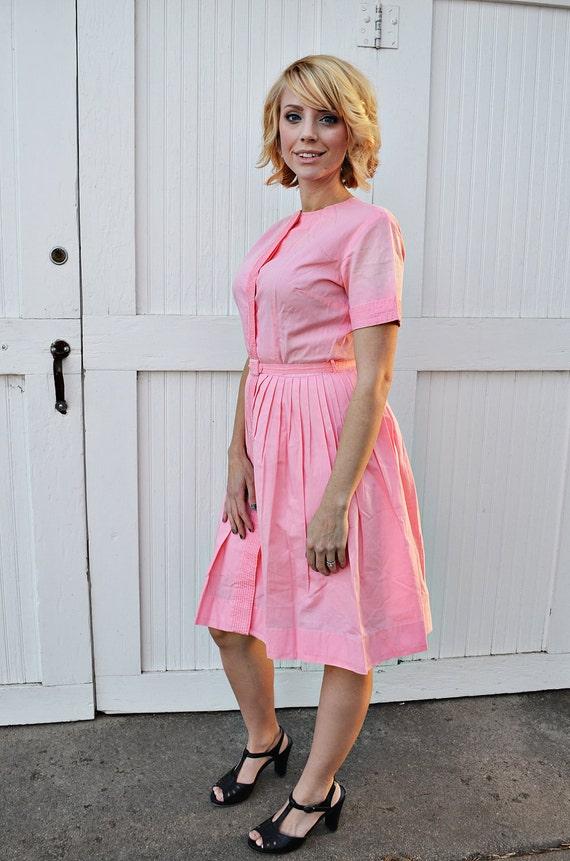 Vintage Bright Pink Button Up Dress