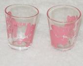 """2 Vintage Shot Glasses """"Dancing Pink Elephants"""
