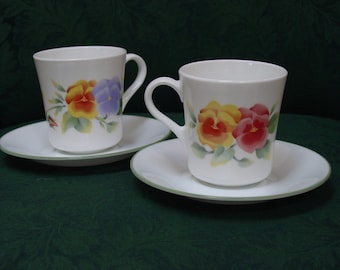 2 Corning Corelle Summer Blush Pansies Cup and Saucers Brand New