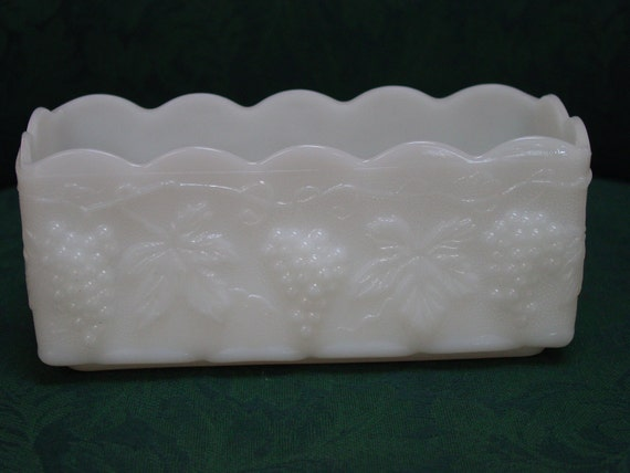 Vintage Anchor Hocking Milk Glass Rectangular Planter with Grapes and Leaf Pattern