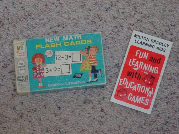 Vintage 1965 Set of 81 Milton Bradley Flash Cards for Addition and Subtraction