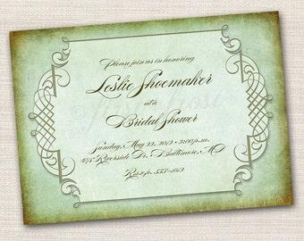 Vintage Printable Card Wedding Bridal Shower Party Invitation Steampunk