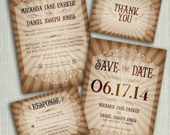 printable vintage style wedding invitation suite diy 4 pieces steampunk - Vintage Style Wedding Invitations