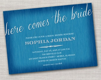 Here Comes the Bride Shower Invitation Card - Wedding Bridal Shower Tea Luncheon
