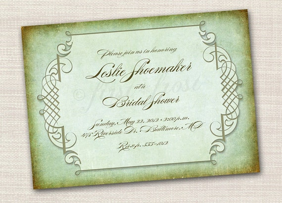 Vintage Printable Card Wedding Bridal Shower Party Invitation Steampunk