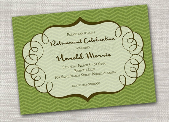 Masculine Patterned Printable Card Invitation -  Party Birthday Retirement Shower Luncheon Announcement