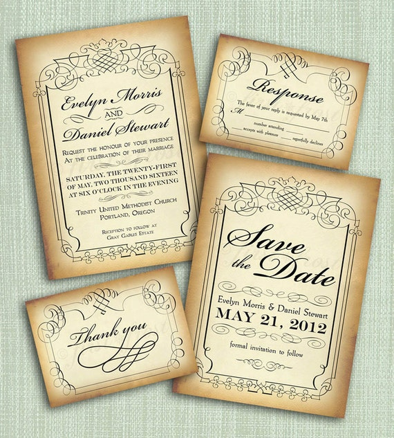 Vintage Wedding Invitations: Printable Vintage Style Wedding Invitation Suite DIY 4