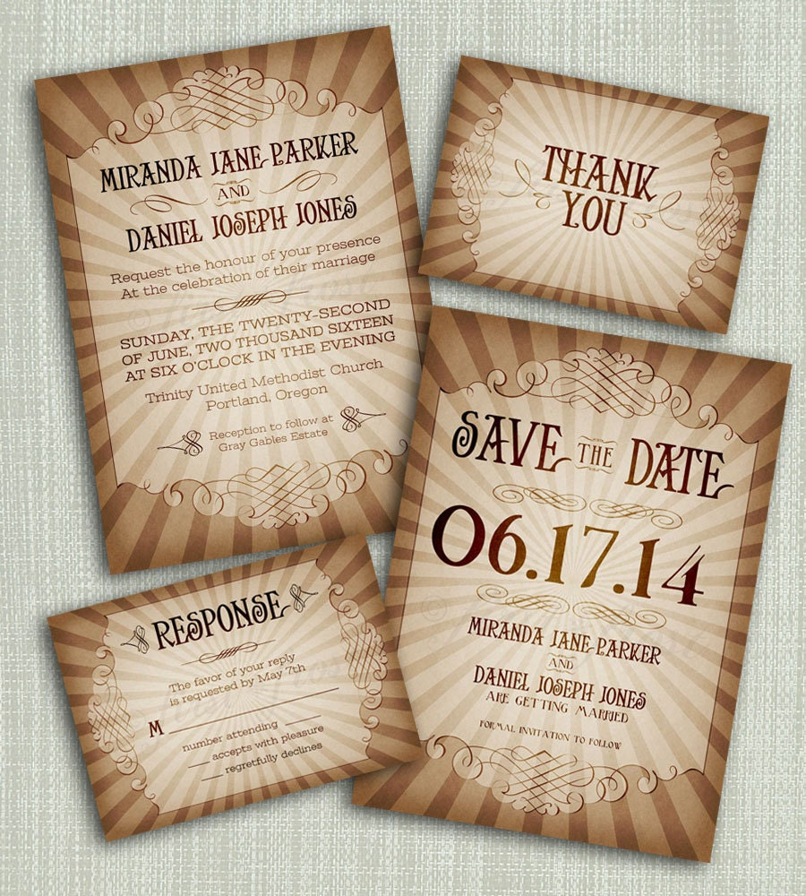 zoom - Vintage Style Wedding Invitations